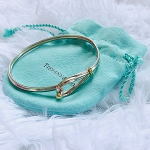 Tiffany & Co 18k gold & silver hook bangle